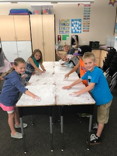 Cleaning desks with shaving cream