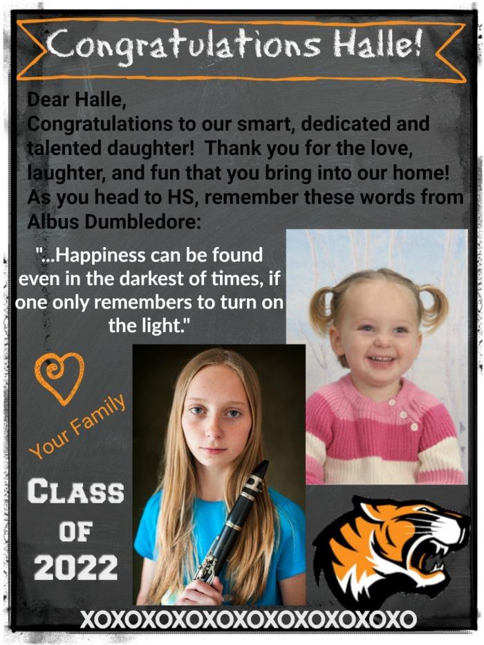 Halle 8th grade dedication